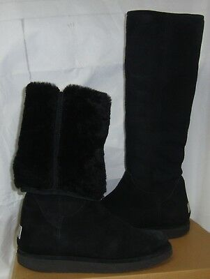 UGG COLLECTION Nero / Black CARMELA Tall Suede Shearling Boots Size US 8 , EU - Carmela Collection