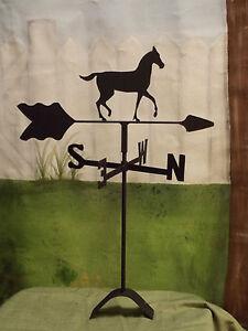 horse  weathervane black wrought iron roof mount