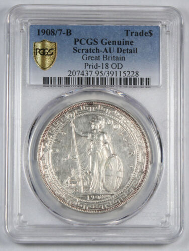 Great Britain UK 1908/7 B TRADE DOLLAR China $1 Silver Coin PCGS AU Better Date