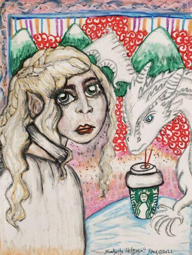 Daenerys Dragon Infamous Starbucks Coffee Cup 5x7 Game of Thrones GOT Pop Art