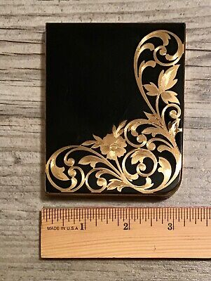 Vintage Art Deco Elgin American Cigarette or Card Case Black Enamel Etched Gold
