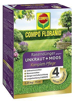 COMPO FLORANID® Rasendünger gegen Unkraut+Moos Komplett-Pflege 2,25kg für 75m²