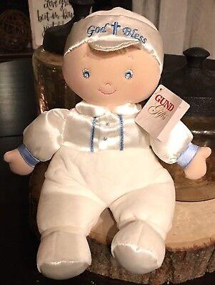 BABY GUND BOY DOLL GOD BLESS BABY BLUE EYES EASTER CROSS #60512 PLUSH BABY NWT