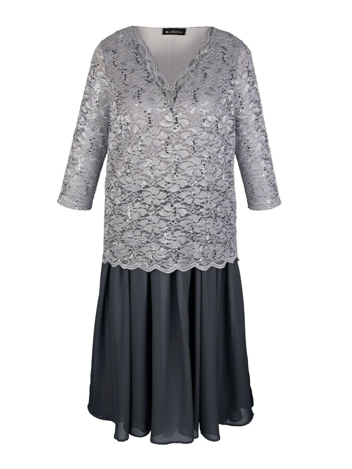 details zu m. collection kleid mit spitzen-oberteil, grau. neu
