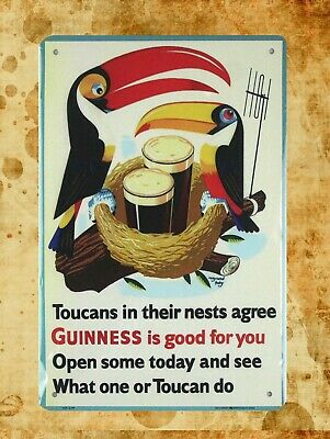 Guinness Bar Signs (US Seller- Toucans Guinness is good for you beer bar metal sign bar pub)