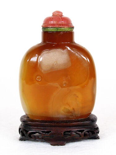 Vintage Chinese Carved Agate Snuff Bottle Wood Stand