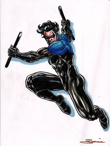 ORIGINAL-ART-NIGHTWING-by-Artist-Damon-Bowie-FULL-COLOR-PRELIM-Art-HAND-SIGNED