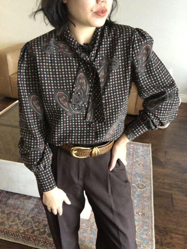 vintage Paisley Puff Sleeve Bow Tie Secretary Blouse S M