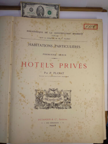 Antique French architecture book HOTELS PRIVES private homes 80 plates PLANAT