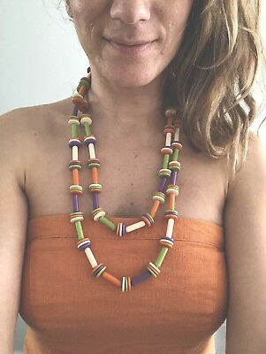 60s -70s Jewelry – Necklaces, Earrings, Rings, Bracelets RARE 1960s Mod Gogo Vintage necklace, disc multi coloured. Orange, Purple, Green $40.82 AT vintagedancer.com