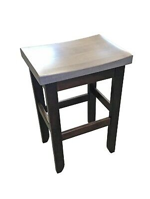 Amish Maple Bar Stool - Brown Maple Oak Saddle Bar Stool - Counter Height - 2 Tone - Amish Made in USA