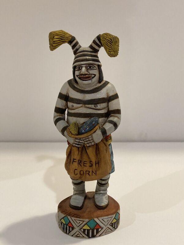 "Hopi Koshare Clown with Fresh Corn Kachina Marlin Pinto, 5"" Tall, Hand Carved"