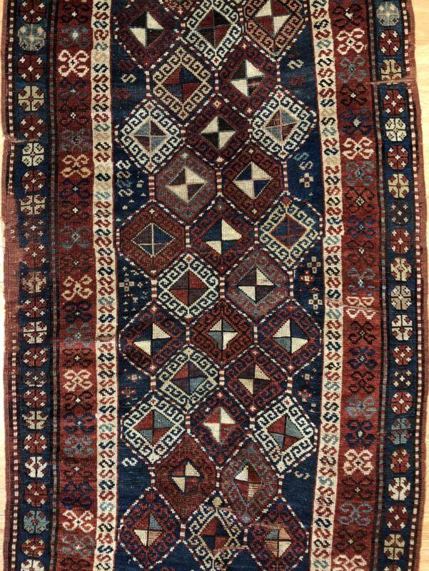 Classic Caucasian - 1900s Antique Kazak Runner - Tribal Oriental Rug - 3.6 X 6.4