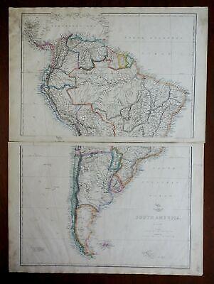 South America Brazil Peru Columbia Venezuela Chile 1863 Ettling two sheet map