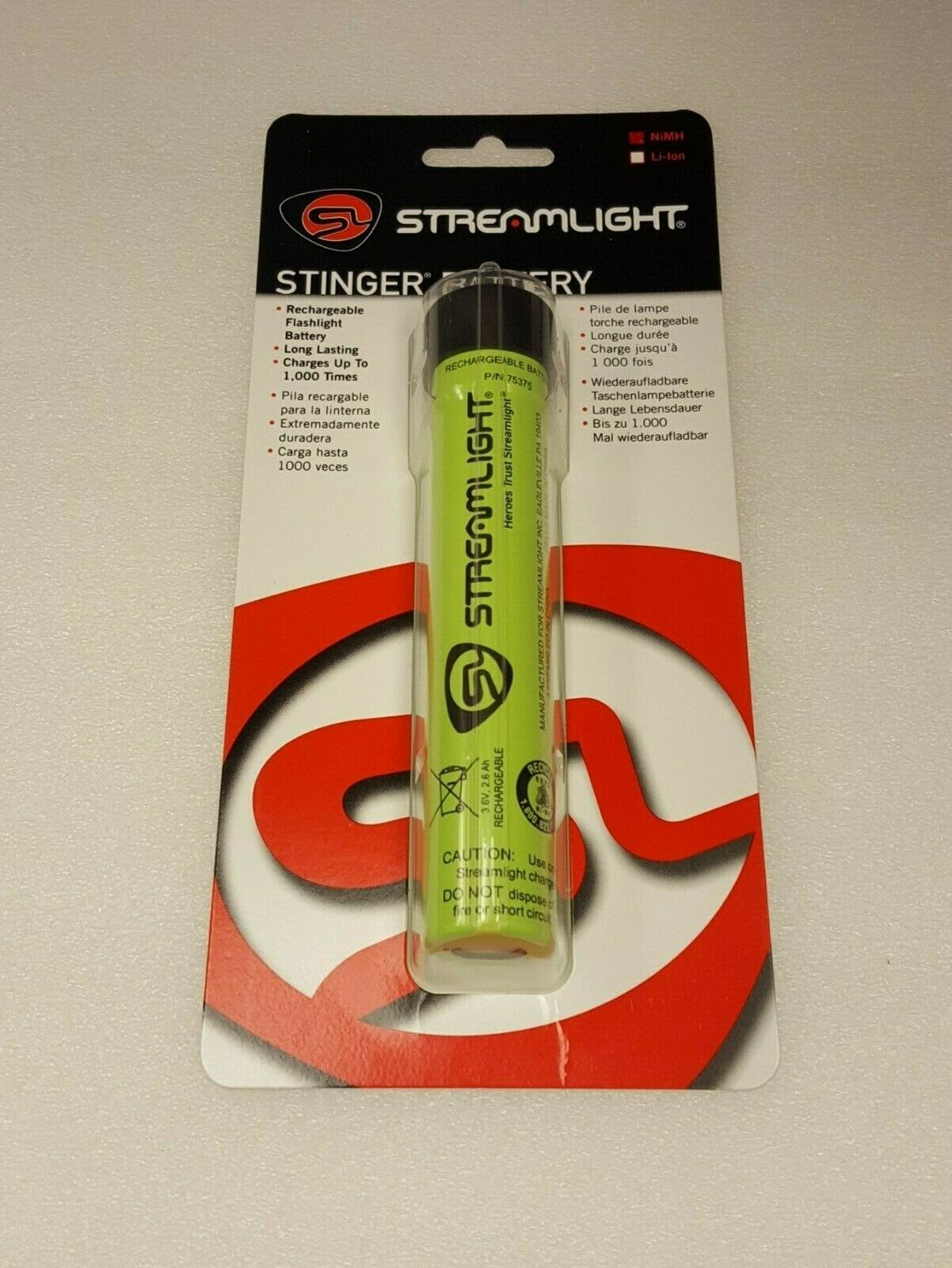 Streamlight 75375 Replacement NiMH Rechargeable Battery Stinger Series Light