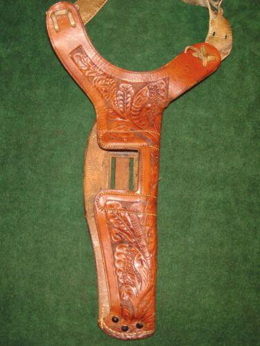 """Antique Western Style Floral Carved Shoulder Holster - Stamped """"44 61"""""""