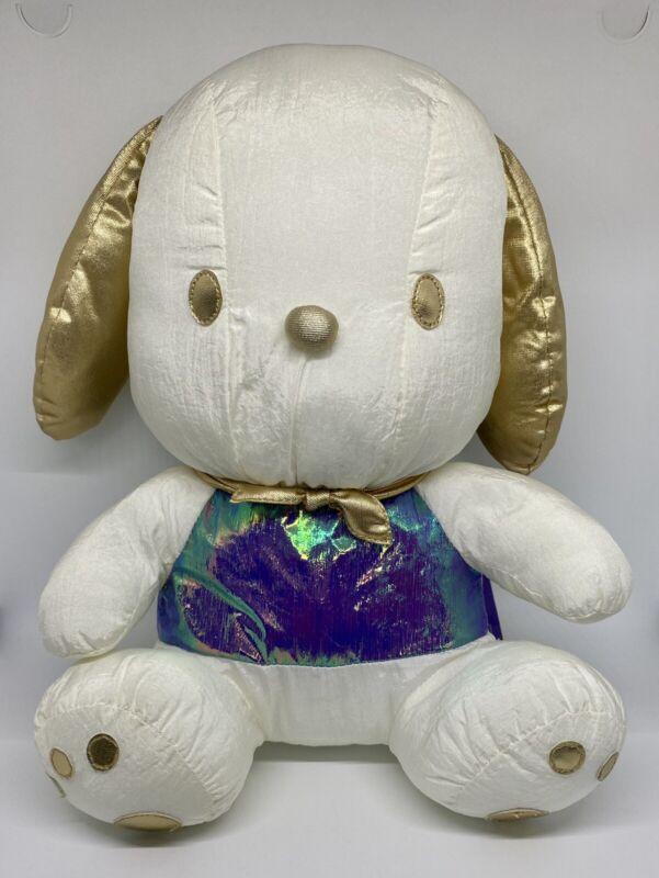 "Vintage 1998 Sanrio Pochacco 12"" Nylon Stuffed Iridescent Puppy Dog Toy"