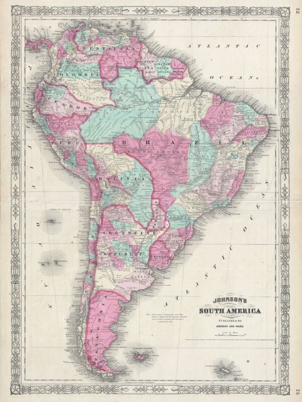 1865 Johnson Map of South America