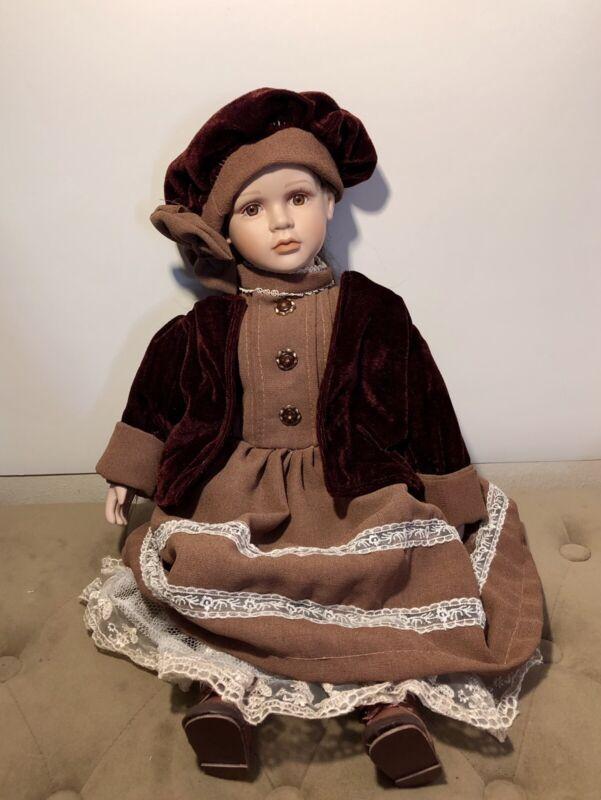 "Porcelain Doll SFC 19"" Tall Wearing Beret Brown Dress Lace Trim Gorgeous Face!"