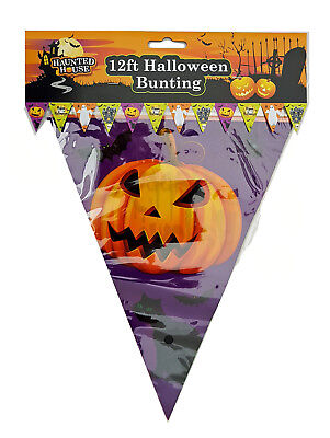 Haunted House 12 ft Halloween Bunting, Flaggentuch
