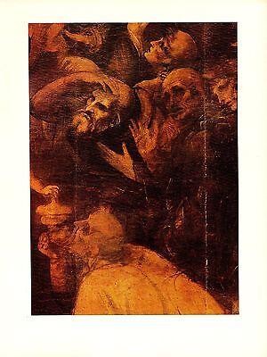 "1974 Vintage LEONARDO DA VINCI ""DETAIL 2 ADORATION MAGI"" COLOR offset Lithograph"