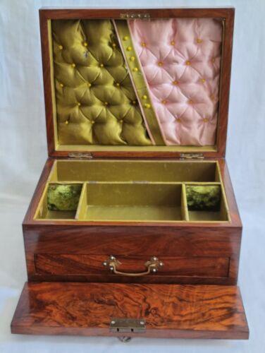 ANTIQUE VICTORIAN WALNUT JEWELLERY BOX DRAWER  LOCK & KEY RECESSED HANDLE