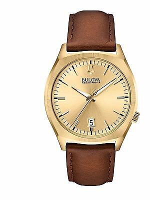 Bulova Accutron II Men's 97B132 Quartz Gold Tone Brown Leather Strap Watch