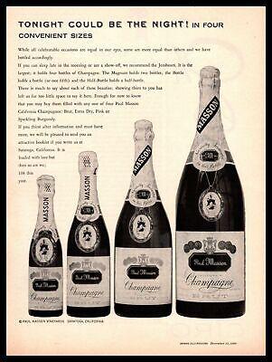 1960 Paul Masson Vineyards Saratoga California Champagne Brut Bottles Print Ad