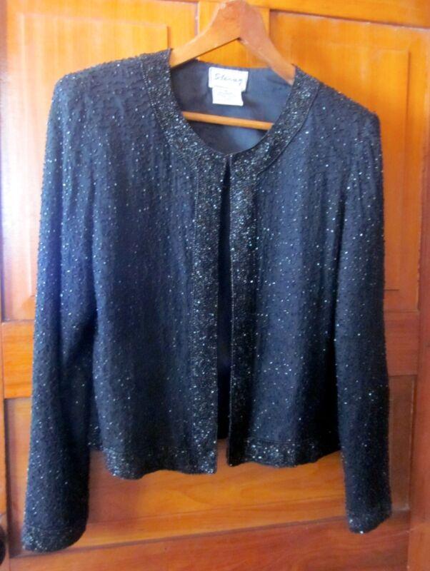 Stenay Black Beaded Silk Fully Lined Evening Party Festive Jacket  SZ S