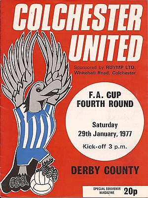 Football Programme - Colchester United v Derby County - FA Cup - 29/1/1977