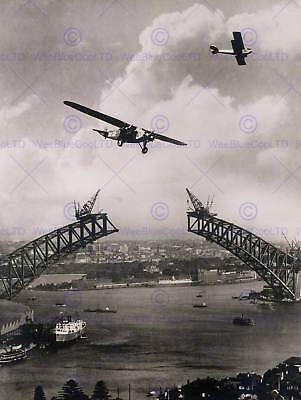 VINTAGE PHOTOGRAPH ARCHITECTURE SYDNEY HARBOUR BRIDGE POSTER ART PRINT BB12289B (Sydney Harbour Bridge Poster)