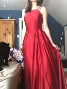 RED PROM DRESS WITH POCKETS