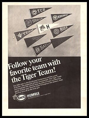 1967 ENCO Humble Oil Southwest Conference Football Pennants Vintage SWC Print Ad