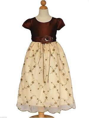 Size 5/6 (5-6 years ) Girls Pageant Holiday Party Dress ,Dark Brown/Light Brown (Dark Light Party)