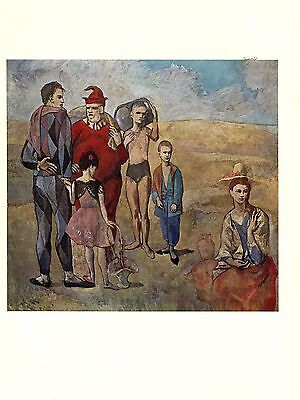 """1964 Vintage PICASSO """"FAMILY OF SALTIMBANQUES"""" ROSE PD. COLOR offset Lithograph"""