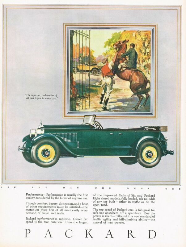 1926 BIG Original Vintage Packard Convertible Motor Car Automobile Art Print Ad