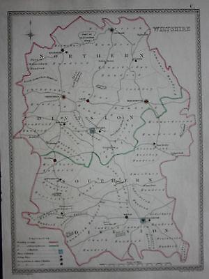 Original antique map WILTSHIRE POLITICAL Samuel Lewis, J&C Walker, c.1835