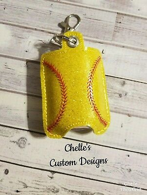 Softball Hand Sanitizer Vinyl Case Key chain  FREE SHIPPING - Softball Keychains