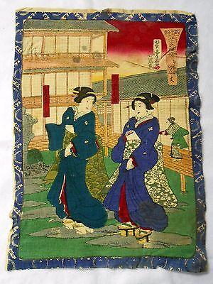 Japanese Wood Block Print On Cloth All Original Antique