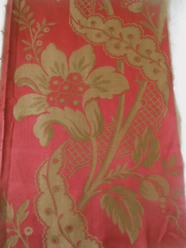 Antique 19thc French Floral Silk Brocade Fabric ~ Lg. Fragment ~  Red Gold