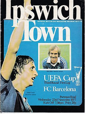 IPSWICH TOWN V FC BARCELONA UEFA CUP  23/11/77
