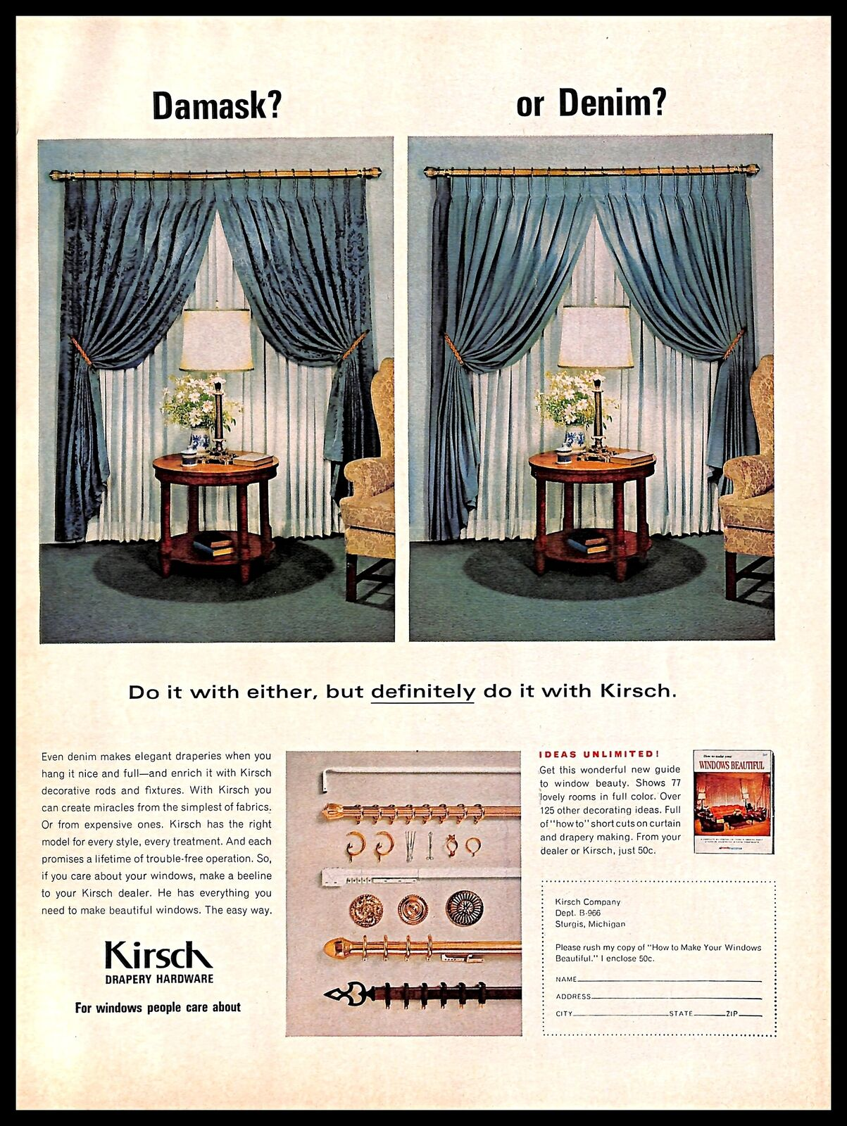 Details About 1966 Kirsch Drapery Hardware Vintage Print Ad Curtains Windows Home Decor 1960s