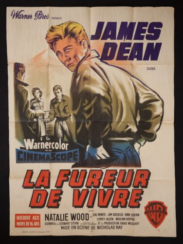 Original French Grande Movie Poster Rebel Without a Cause 1955 James Dean, RARE