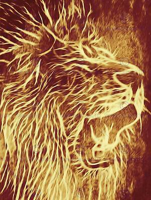 (ABSTRACT PAINTING ANIMAL LION ROAR FUR MANE POSTER ART PRINT HOME PICTURE BB222B)