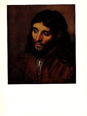 """1967 Vintage REMBRANDT """"HEAD OF CHRIST"""" PORTRAIT COLOR offset Lithograph"""