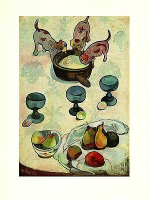 "1972 Vintage GAUGUIN ""STILL LIFE WITH PUPPIES"" WHIMSICAL COLOR offset Lithograph"