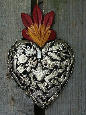 Black Sacred Heart Wood Milagro covered Folk Art Michoacán Mexico Love Token