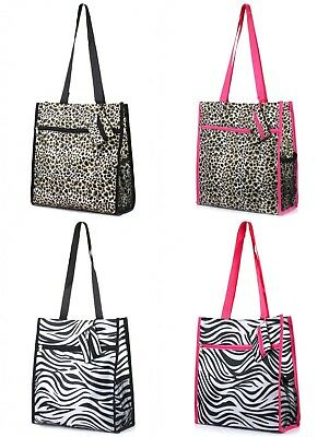 Zebra Leopard Cheetah Fashion Print All Purpose Travel Tote Bag with Coin (Zebra Cheetah Print)