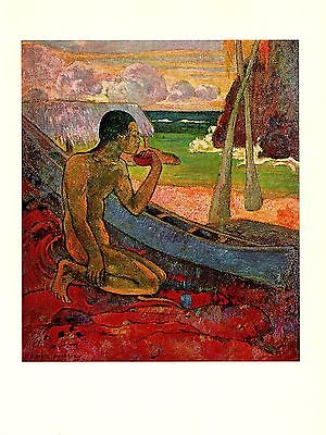 """1972 Vintage GAUGUIN """"THE POOR FISHERMAN"""" LOVELY TAHITI COLOR offset Lithograph"""