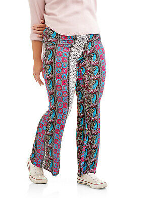 - NEW Juniors Plus Eye Candy Paisley Print Soft Knit Foldover Waist Flare Pants 1X